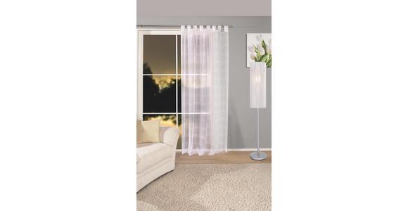 Vorhang mit Schlaufen und Band Halina B: 145cm, Weiß/Taupe - Weiß, KONVENTIONELL, Textil (145/245cm) - Luca Bessoni