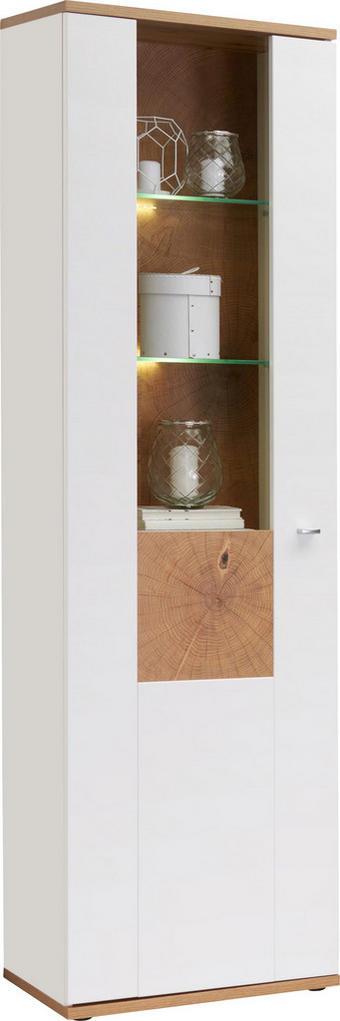 VITRÍNA - bílá/barvy stříbra, Design, kov/dřevěný materiál (60/201/37cm) - HOM IN