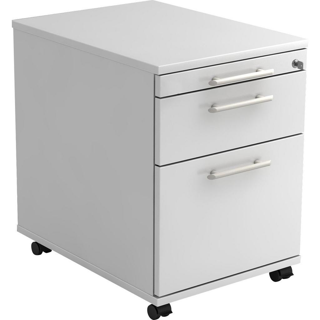 Rollcontainer , Weiß , Kunststoff , 3 Schubladen , 42.8x59x58 cm , Fsc, DIN EN ISO 14001 , Beimöbel erhältlich , Arbeitszimmer, Container, Rollcontainer