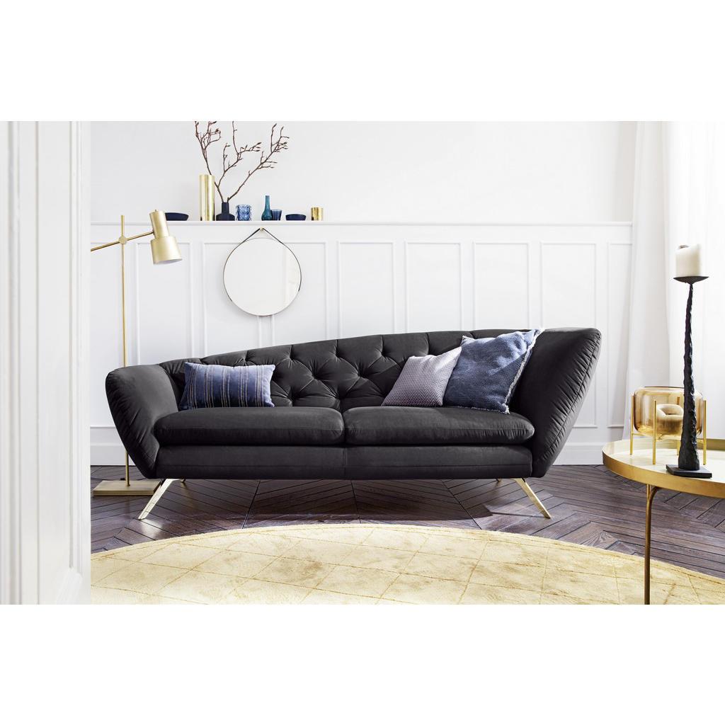 Pure Home Lifestyle Chesterfield 2-Sitzer-Sofa , Schwarz , Textil , 223x84x90 cm , Goldenes M, Dgm , Typenauswahl, Fußauswahl, Lederauswahl, Stoffauswahl, seitenverkehrt erhältlich, Hocker Rücken echt , Wohnzimmer