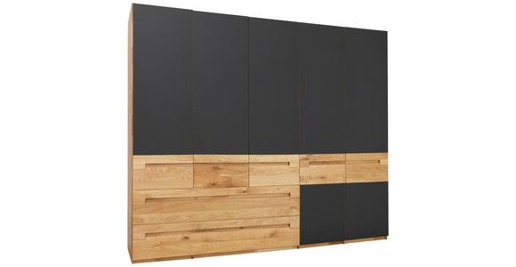 DREHTÜRENSCHRANK in Anthrazit, Eichefarben  - Eichefarben/Anthrazit, Design, Glas/Holz (259/216/60cm) - Valnatura