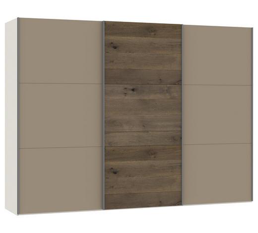SCHWEBETÜRENSCHRANK in Creme, Eichefarben, Hellbraun  - Hellbraun/Eichefarben, Design, Glas/Holz (303,1/220/65cm) - Jutzler