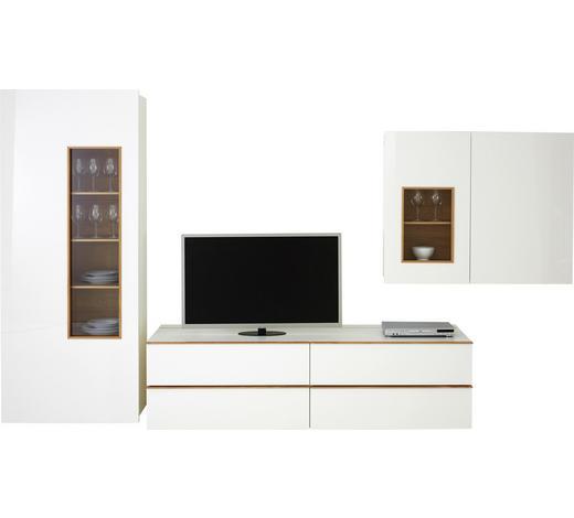 WOHNWAND Weiß, Eichefarben  - Eichefarben/Schwarz, Design, Glas/Holzwerkstoff (391,5/205/56,5cm) - Dieter Knoll