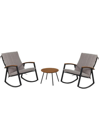 SET ZA BALKON  - sivo rjava/antracit, Konvencionalno, kovina/tekstil (63/86/101,5cm) - Ambia Garden