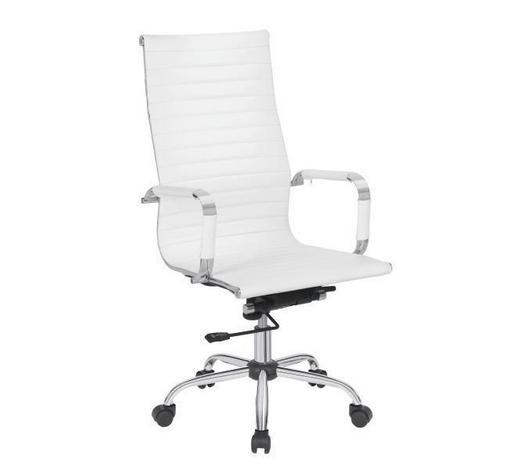 UREDSKA STOLICA  bijela, boje kroma  metal, plastika, tekstil  - bijela/boje kroma, Konvencionalno, metal/tekstil (55,5cm) - Xora