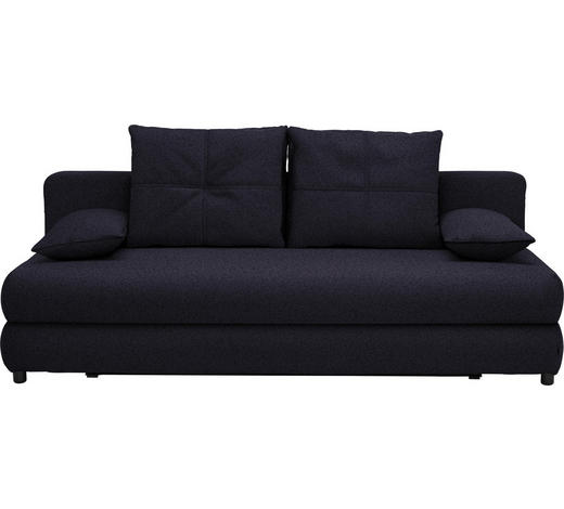 SCHLAFSOFA in Textil Dunkelblau - Schwarz/Dunkelblau, Design, Kunststoff/Textil (208/73-90/102cm) - Hom`in