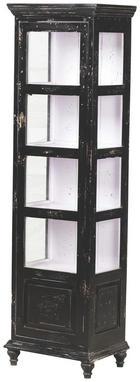 VITRÍNA - bílá/černá, Trend, kov/dřevo (48/164/33cm) - AMBIA HOME