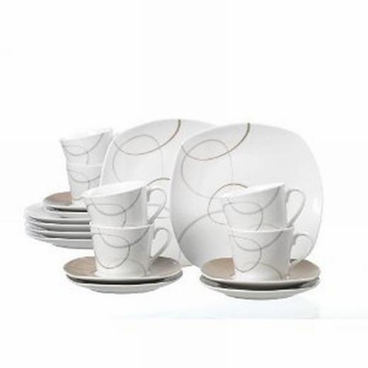 Porzellan  KAFFEESERVICE 18-teilig - Dunkelbraun/Weiß, Basics (26/21/22cm) - RITZENHOFF BREKER