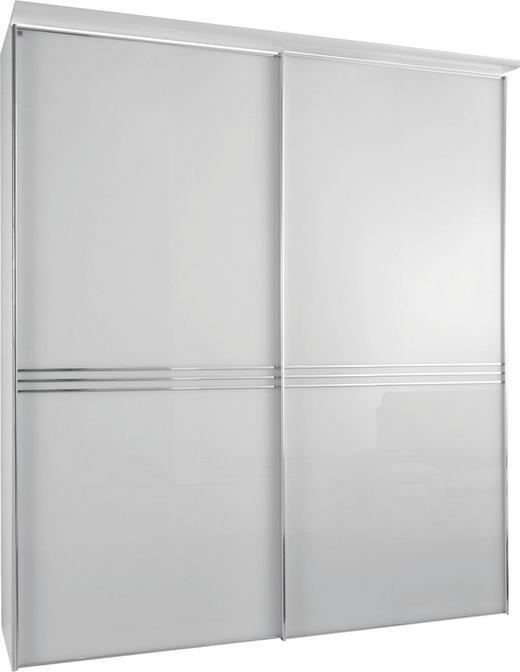 SCHWEBETÜRENSCHRANK 2  -türig Weiß - Chromfarben/Weiß, Design, Glas/Holzwerkstoff (188/222/68cm) - Moderano