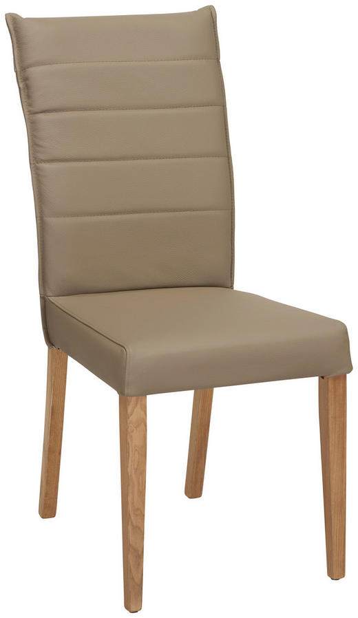 STOL - mullvadsfärgad/gråbrun/ekfärgad, Klassisk, läder/trä (45/101/61cm) - VENDA