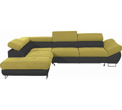 WOHNLANDSCHAFT in Textil Grün, Schwarz - Chromfarben/Schwarz, Design, Textil/Metall (235/280cm) - Hom`in