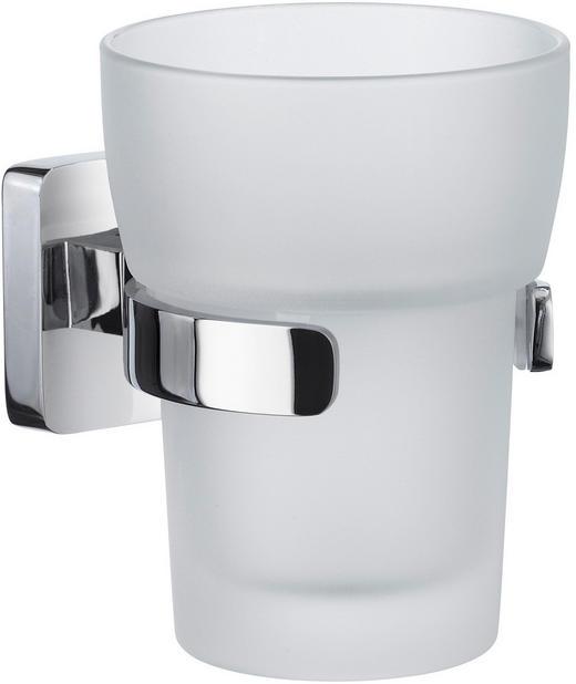 ZAHNPUTZBECHER - Chromfarben/Weiß, Basics, Glas/Metall (12/14,6/25,5cm)