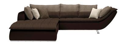 WOHNLANDSCHAFT in Textil Dunkelbraun, Hellbraun - Taupe/Chromfarben, Design, Textil/Metall (220/300cm) - Hom`in