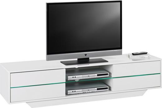 MEDIABÄNK - vit, Design, glas/träbaserade material (160/36/40cm)