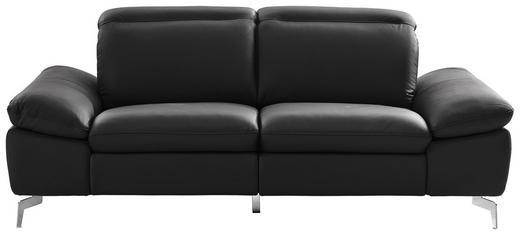 Zweisitzer-sofa in Chromfarben, Dunkelgrau Leder, Metall, Textil - Chromfarben/Dunkelgrau, Design, Leder/Textil (200/80/104cm) - Xora