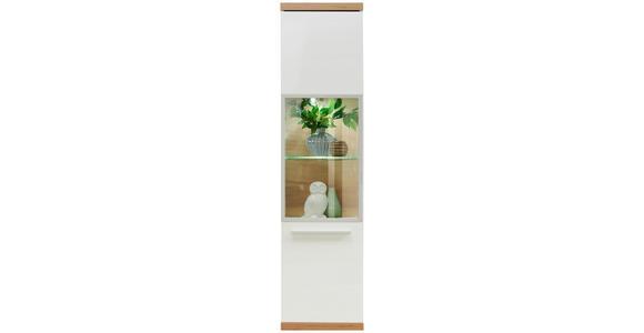 HÄNGEVITRINE in Weiß, Eichefarben   - Chromfarben/Eichefarben, MODERN, Glas/Holzwerkstoff (40/165/31cm) - Hom`in