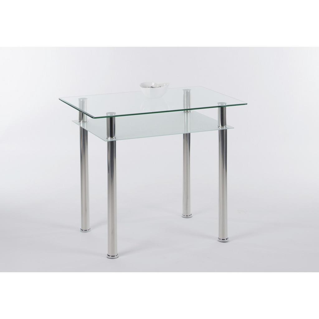 Livetastic Esstisch , Klar, Chrom , Metall, Glas , rund , 60x75 cm , Stauraum , Esszimmer, Tische, Esstische