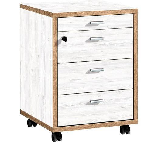 ROLLCONTAINER Weiß, Eichefarben  - Eichefarben/Alufarben, Design, Metall (43/59/44cm) - Xora