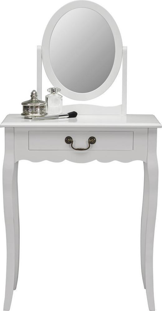 SCHMINKTISCH in Weiß Pappel - Schwarz/Weiß, Trend, Glas/Holzwerkstoff (65/36/127cm) - Ambia Home