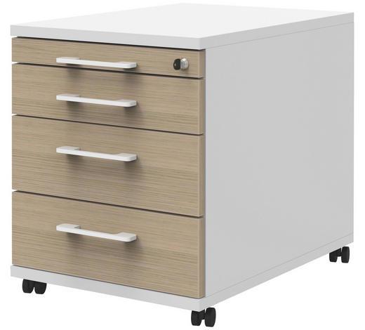 ROLLCONTAINER - Eichefarben/Weiß, Design, Holzwerkstoff/Kunststoff (43/54,4/60cm)