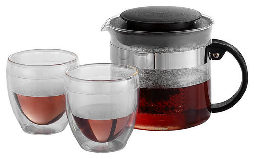TEEKANNENSET - Klar/Schwarz, Basics, Glas/Kunststoff (1,0l) - Bodum