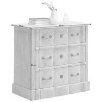 KOMMODE in massiv Mangoholz Weiß - Weiß/Kupferfarben, Trend, Holz/Metall (85/81/45cm) - Ambia Home
