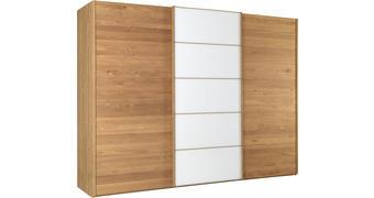 OMARA Z DRSNIMI VRATI, delno masivno hrast bela, hrast  - bela/hrast, Natur, steklo/leseni material (250/217/67cm) - Linea Natura