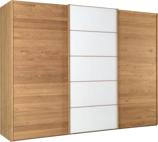 SCHWEBETÜRENSCHRANK 3-türig Eiche teilmassiv Eichefarben, Weiß - Eichefarben/Weiß, Design, Glas/Holz (300/217/67cm) - Linea Natura