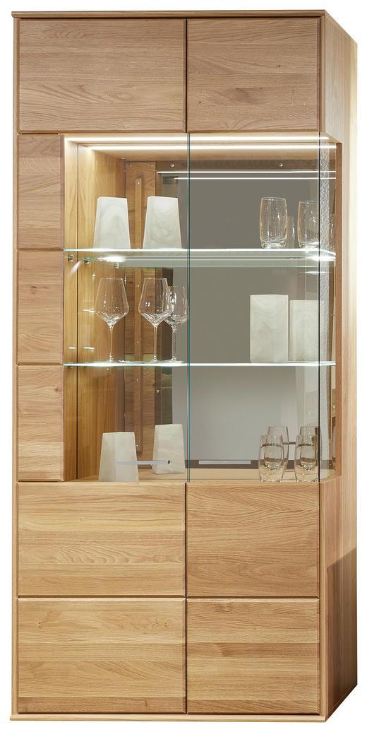 VITRINE Asteiche furniert, massiv Eichefarben - Eichefarben/Silberfarben, KONVENTIONELL, Glas/Holz (90/204/40cm) - Voleo