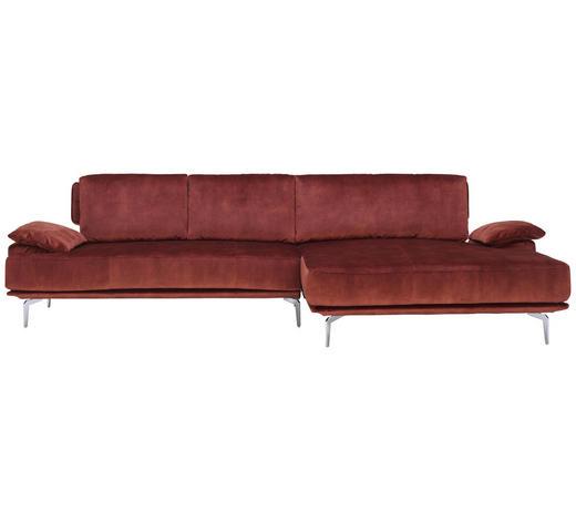 WOHNLANDSCHAFT in Textil Rostfarben - Chromfarben/Rostfarben, Design, Textil/Metall (303/165cm) - Chilliano