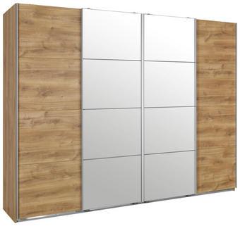 SCHWEBETÜRENSCHRANK in Eichefarben - Eichefarben/Alufarben, Design, Holzwerkstoff (270/210/65cm) - Ti`me