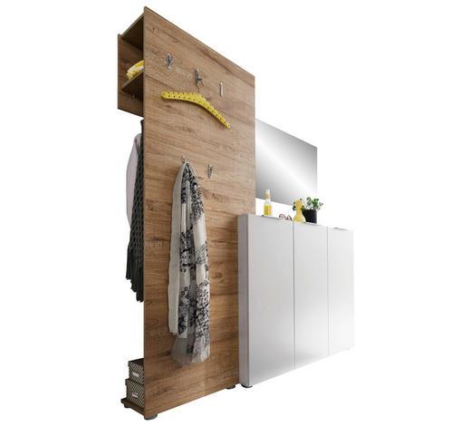 ŠATNA, bílá, barvy dubu - bílá/barvy dubu, Design, kompozitní dřevo (175/190/39cm) - Carryhome