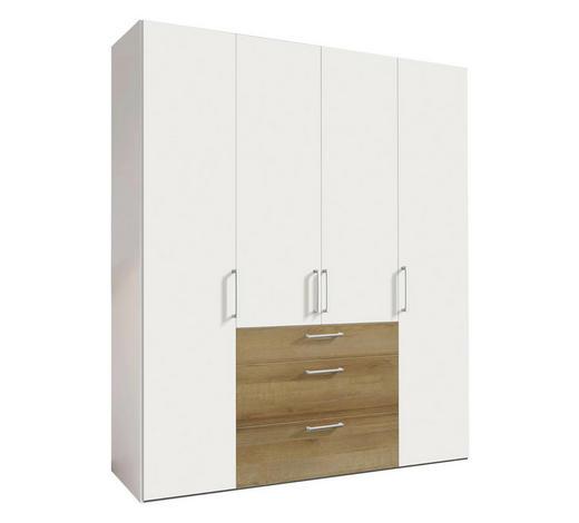 DREHTÜRENSCHRANK in Weiß, Eichefarben - Eichefarben/Alufarben, Design, Holzwerkstoff/Metall (200/236/58cm) - Hom`in