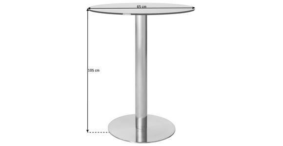 BARTISCH in Metall, Glas 65/65/105 cm   - Edelstahlfarben/Grau, Design, Glas/Metall (65/65/105cm) - Dieter Knoll