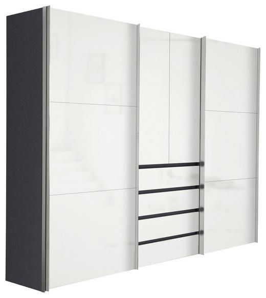 KLEIDERSCHRANK 4-türig Graphitfarben, Weiß - Graphitfarben/Alufarben, Design, Holzwerkstoff/Metall (300/216/68cm) - Hom`in