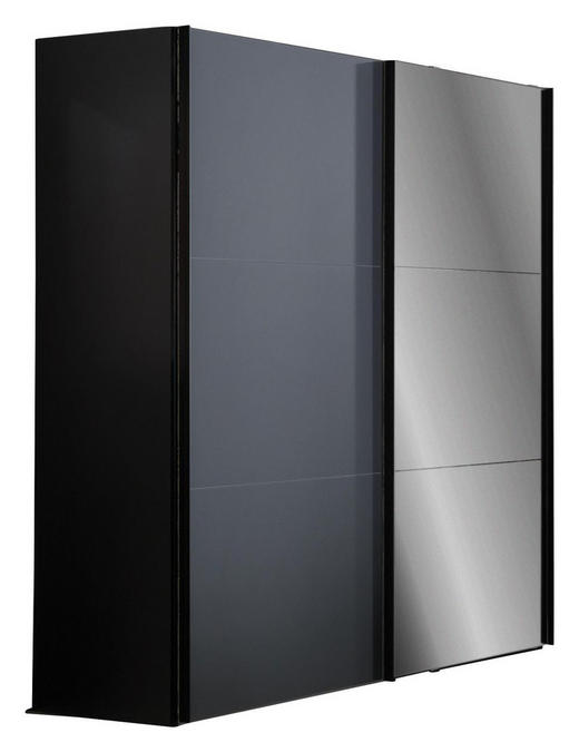 SCHWEBETÜRENSCHRANK 2-türig Graphitfarben - Graphitfarben, Design, Glas/Holzwerkstoff (200/216/68cm) - Hom`in