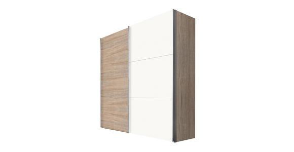SCHWEBETÜRENSCHRANK in Sonoma Eiche, Weiß - Alufarben/Weiß, KONVENTIONELL, Holzwerkstoff/Metall (200/216/68cm) - Hom`in