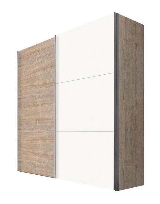 SCHWEBETÜRENSCHRANK 2  -türig Sonoma Eiche, Weiß - Alufarben/Weiß, KONVENTIONELL, Holzwerkstoff/Metall (200/216/68cm) - Hom`in