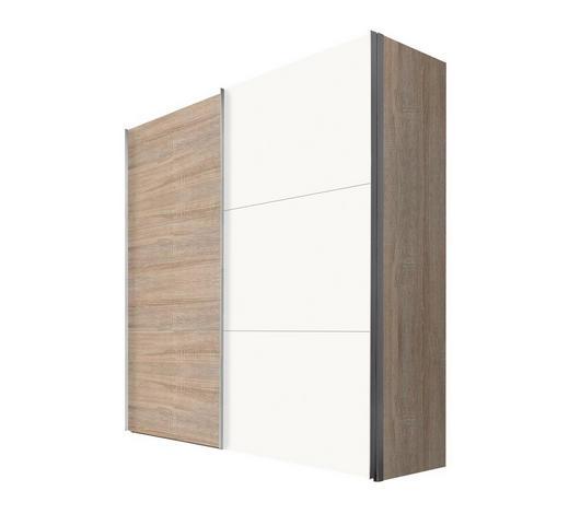 SCHWEBETÜRENSCHRANK 2-türig Weiß, Sonoma Eiche - Alufarben/Weiß, KONVENTIONELL, Holzwerkstoff/Metall (200/216/68cm) - Hom`in