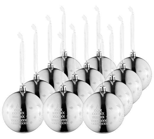 CHRISTBAUMKUGEL-SET 12-teilig Silberfarben  - Silberfarben, Basics, Kunststoff (8cm) - X-Mas
