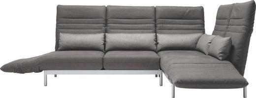 WOHNLANDSCHAFT in Textil Grau - Silberfarben/Grau, Design, Textil/Metall (344/265/cm) - Rolf Benz