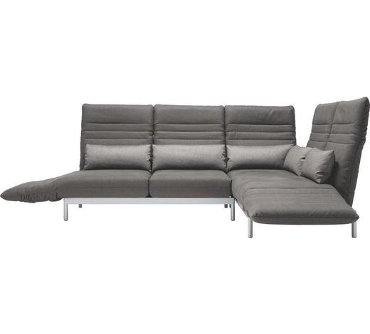 WOHNLANDSCHAFT in Textil Grau  - Silberfarben/Grau, Design, Textil/Metall (344/265cm) - Rolf Benz