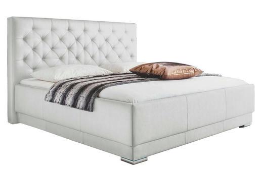 POLSTERBETT Lederlook 160/200 cm - Chromfarben/Weiß, Design, Textil/Metall (160/200cm) - XORA