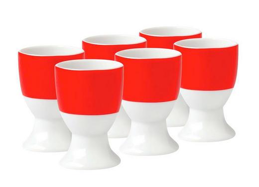 EIERBECHERSET Keramik Porzellan 6-teilig - Rot/Weiß, Basics, Keramik (4,5/6,5cm)