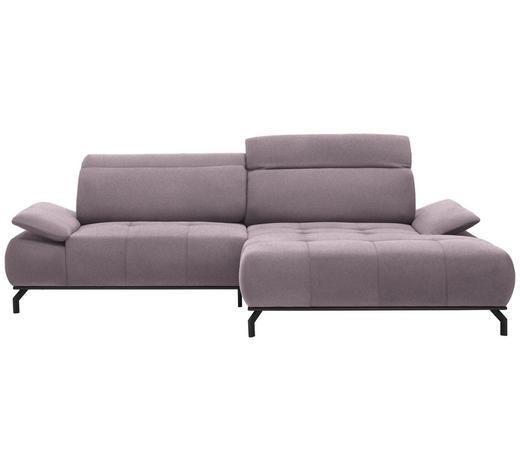 WOHNLANDSCHAFT in Textil Rosa, Altrosa  - Schwarz/Altrosa, Design, Textil/Metall (270/175cm) - Carryhome