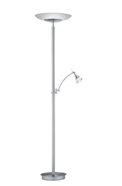 LED-STEHLEUCHTE - Weiß/Nickelfarben, KONVENTIONELL, Glas/Metall (185cm)