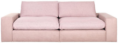 MEGASOFA Chenille, Mikrofaser Rosa - Schwarz/Rosa, Design, Kunststoff/Textil (266/84/123cm) - Hom`in