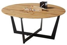 COUCHTISCH in Holz, Metall 80/80/35,5 cm   - Eichefarben/Schwarz, Design, Holz/Metall (80/80/35,5cm) - Hom`in