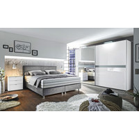 POSTEL BOXSPRING, 180 cm  x 200 cm, textil, šedá - šedá/barvy chromu, Konvenční, textil/umělá hmota (180/200cm) - Bentley