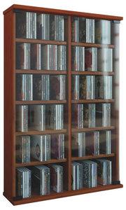 CD Regal in Kirschbaumfarben mit Türen aus Glas